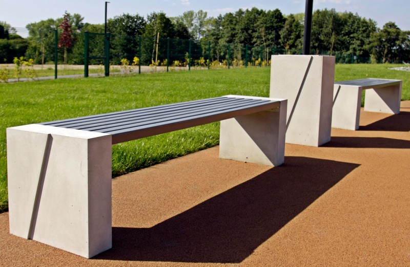 DECO white concrete bench 10 Inter Play Playground