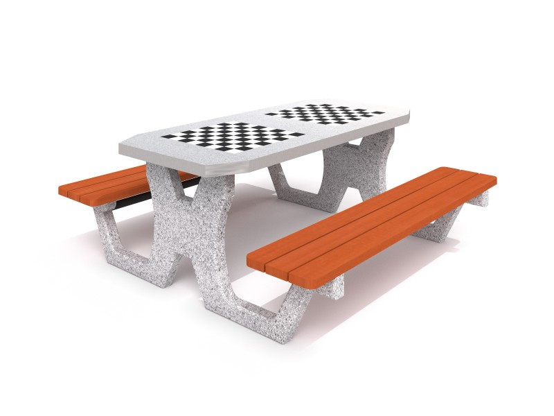 Concrete table for chess - checkers 02 Inter Play Playground
