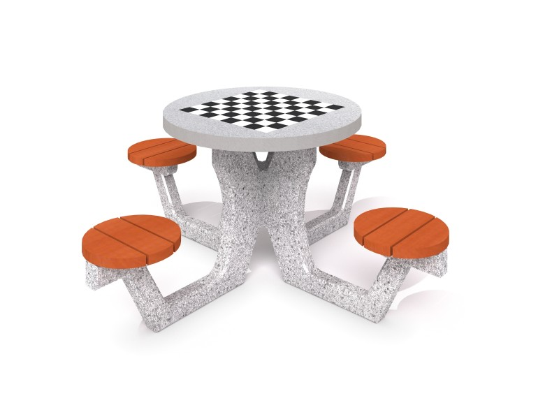 Concrete table for chess - checkers 03