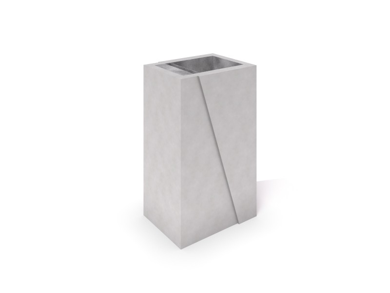 DECO white concrete trash bin 01