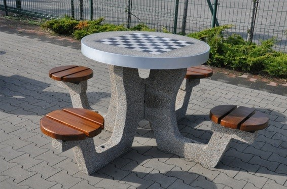 Concrete table for chess - checkers 03 Inter Play Playground